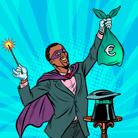 African Magician with euro money