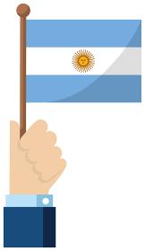 手持ち国旗イラスト ( 愛国心・イベント・お祝い・デモ ) / アルゼンチン