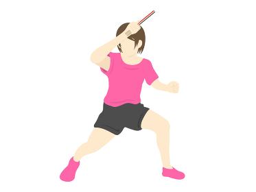 女性の卓球選手のイラスト