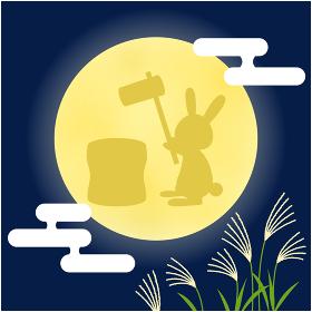 十五夜_満月で餅つきをするうさぎ