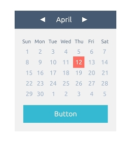 Website element calendar button. Calendar icon page, monthly date and button calendar, web interface page internet month april vector illustration