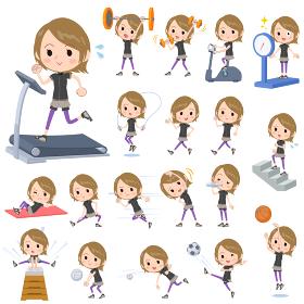 Short hair black wear woman Sports & exercise