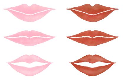 かわいいリップ 口紅 ピンクとブラウンリップのキスマーク