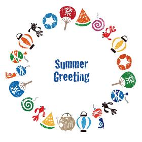 暑中見舞い 日本の夏素材 円形フレーム リース カードデザイン