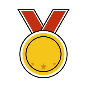 シンプルな金メダルのベクターイラスト