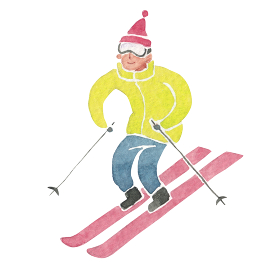 スキー ウィンタースポーツ 人物 水彩 イラスト
