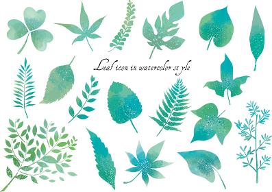 リーフ:葉っぱ 葉 植物 緑 新緑 ベクター 紅葉 シダ 挿絵 アイコン にじみ 水彩 かわいい 春