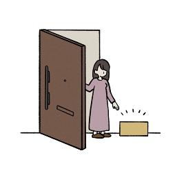 置き配の荷物を受け取る女性のイラスト