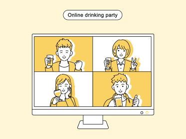 オンライン飲み会をする若い男女 リモート飲み会 宅飲み 忘年会 モニター イラスト素材
