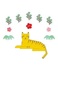 横たわる虎、松の木、梅の花、笹でデザインした年賀状イラスト