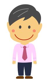 デフォルメ・二頭身 日本人中年ビジネスマン 全身人物イラスト