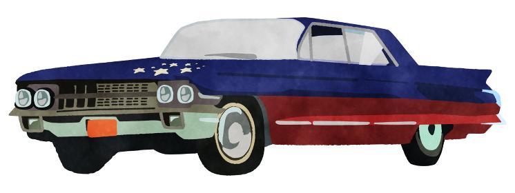 60年代アメ車 アメリカ国旗柄