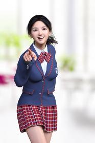 学校の食堂で赤いチェックスカートの制服の笑顔の女子高生が人差し指で正面を指し動きのあるポージングする