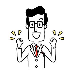 ベクター素材:やる気、元気なポーズをとる男性医師