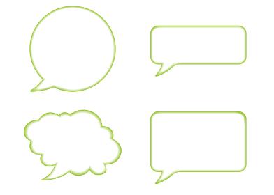 立体レリーフ状の漫画の吹き出し(緑)|バルーン ベクターデータ Speech balloon