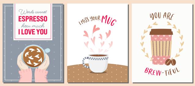 コーヒーテーマのバレンタインカードセット