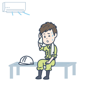 涼しい場所で休憩する男性作業員のイラスト