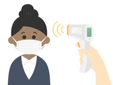 検温される黒人ビジネスウーマンのイラスト