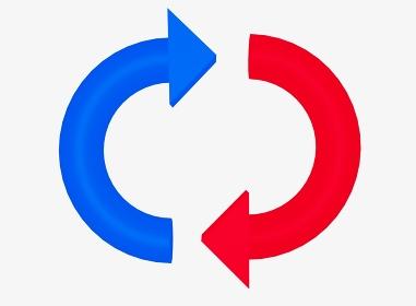 シンプルな青と赤のリサイクルマーク