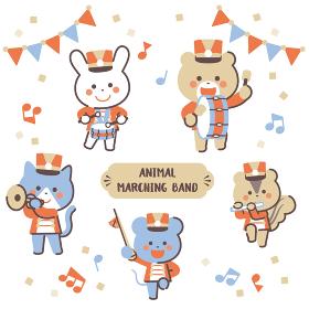 動物のマーチングバンド キャラクターセット 4色シンプルカラー