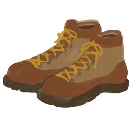 アウトドア 登山靴 靴 トレッキングシューズ イラスト 手描き 水彩