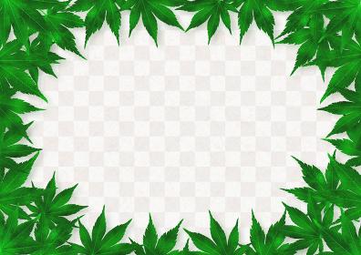 緑色の紅葉のフレーム グレー市松