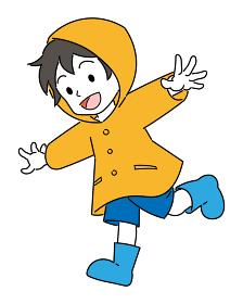 レインコートを着た、男の子