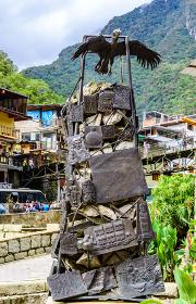 Aguas Calientes, Cusco,Peru -29 April 2017: Condor statue and in