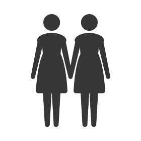 手をつなぐ2人の女性のアイコン:国際女性デー・双子・姉妹・カップル・ LGBTQ+
