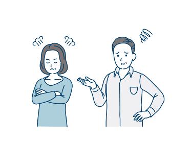 怒る中高年の女性 不機嫌 夫婦 男女 ミドル イラスト素材
