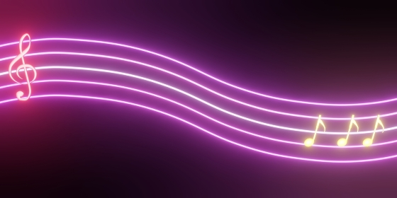 光る五線譜とト音記号と音符の素材、3Dレンダリング