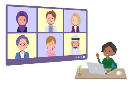 複数人でオンライン会議をしている黒人ビジネス女性のセット。奥行きアングル