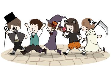 ハロウィンの仮装をしている子供たち