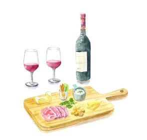 ワインとチーズボード 影あり 水彩イラスト