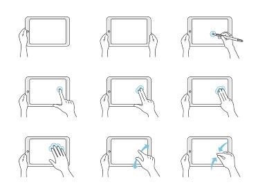 タブレットPCを操作する手のイラストセット