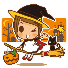 きゃわ系女子スタイル ハロウィンの魔法使いコスチューム(オレンジ)