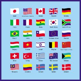 世界の主な国旗のセット 一覧表 イラスト ベクター