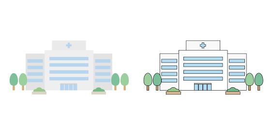 病院 建物 正面 線画あり 線画なし イラスト素材