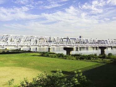 淀川河川敷の野球場