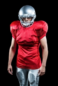 Confident American football player