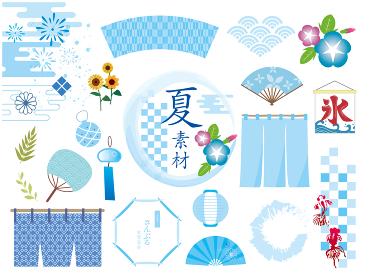 日本の夏和風素材フレームセット