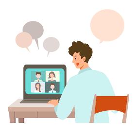 【新しい生活様式】ビデオ会議をする男性