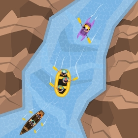 Rafting On River Top View. Rafting on river top view with three different boats following each other vector illustration