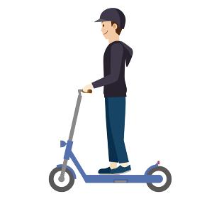 人物 男性と電動キックスクーター 電動キックボードのイラスト