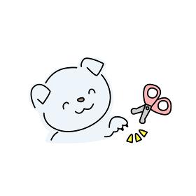 犬の爪切りのイラスト(青色)