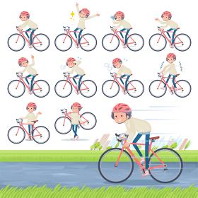 flat type White cable knit women_road bike