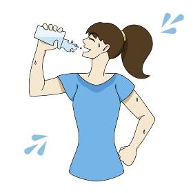 水分補給 コップ 汗だく 女性