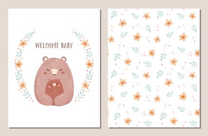 出産祝いのカードとシームレスパターンのセット