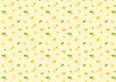 おどるイチョウの葉。水彩イラスト 背景素材 A4、A3比率(黄色背景)
