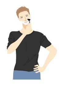 スキンケアする若い男性のイラスト